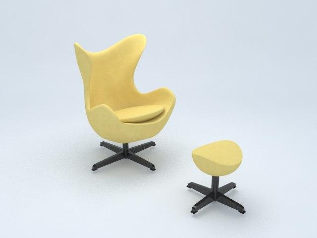 3D yellow egg chair set