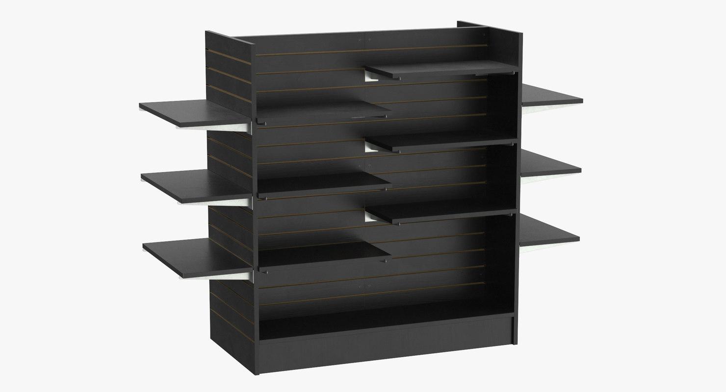 3D slat wall gondolas shelves model
