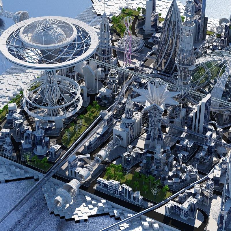 futuristic city hd 3D model