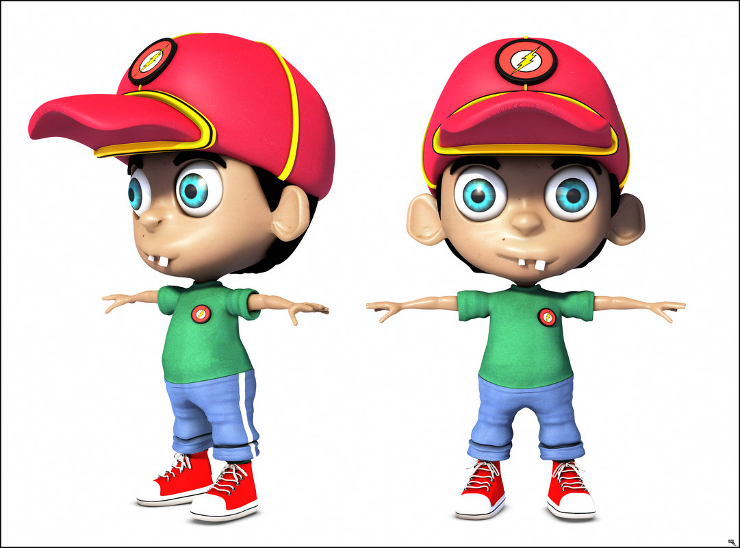 3D boy cartoon toon model