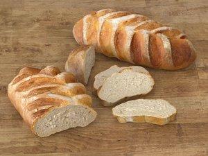 artisan white bread 3D model