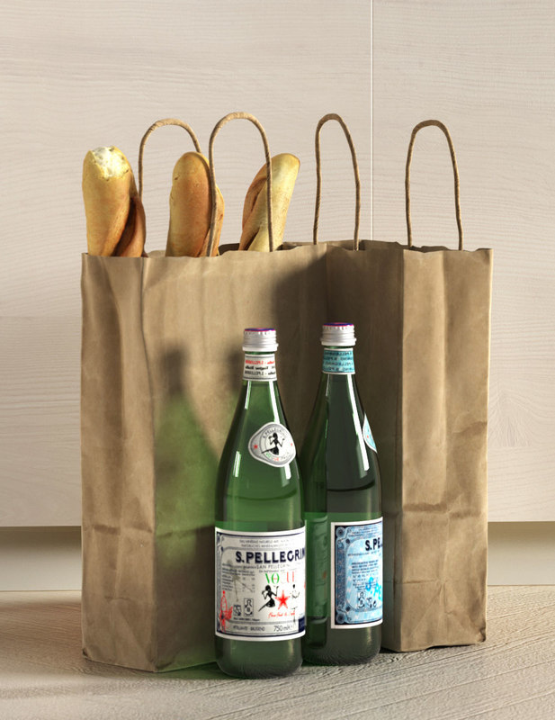 3D paper bags french baguettes