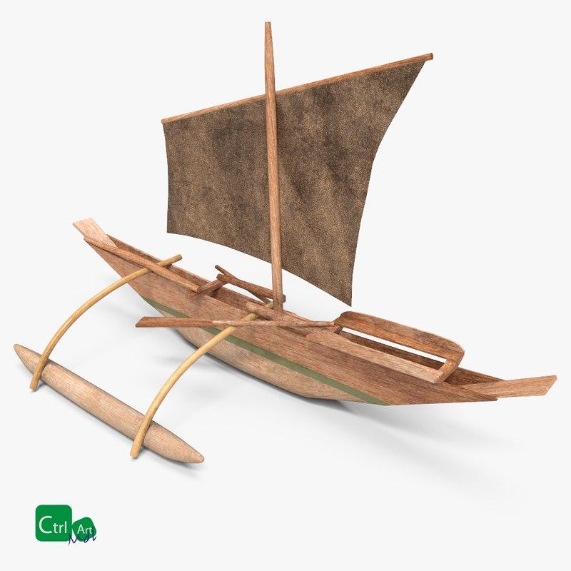 3D wooden sail boat historic model