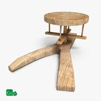 wooden clay wheel 3D