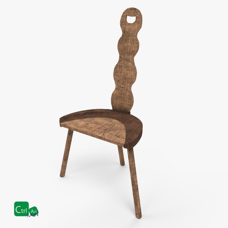 Old wooden chair 3D model TurboSquid 1226377