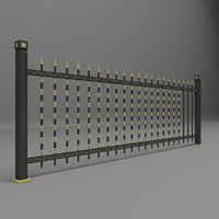 3D model fence garden wall