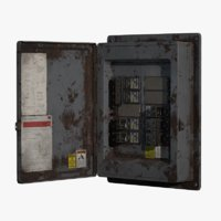 Fuse box, low-poly, PBR