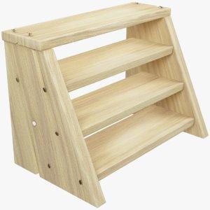 3D small wooden ladder