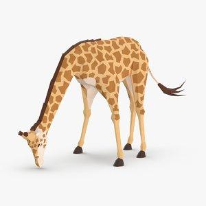3D giraffe----drinking