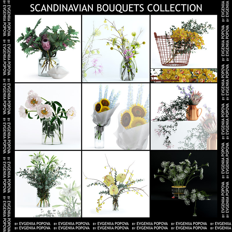 3D flower scandinavian bouquet model