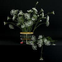 3D realistic flowers ikebana vase