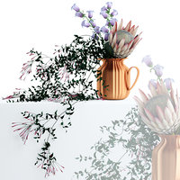 realistic flowers copper pitcher 3D