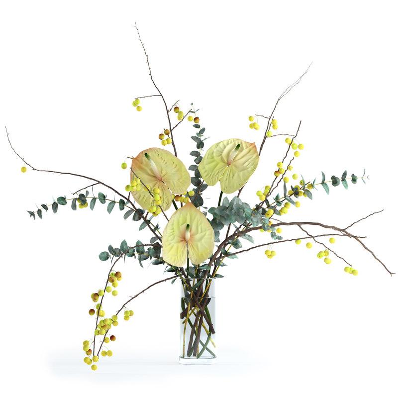realistic flowers anthuriums crabapple 3D model