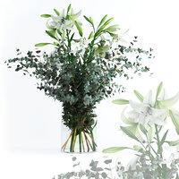 realistic flowers lilies eucalyptus 3D model