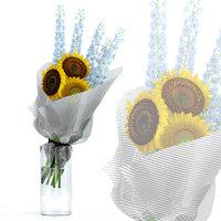 Sunflowers and Delphinium