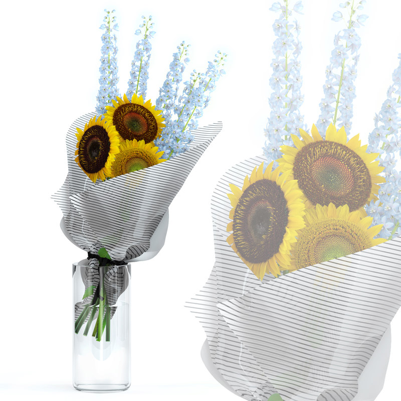 realistic flowers delphinium sunflowers model