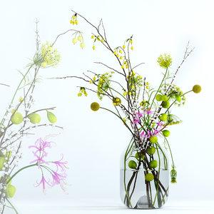 3D model realistic flowers twigs s