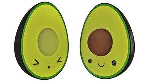 cute half avocado toon character model