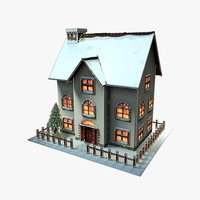3D christmas cartoon house model