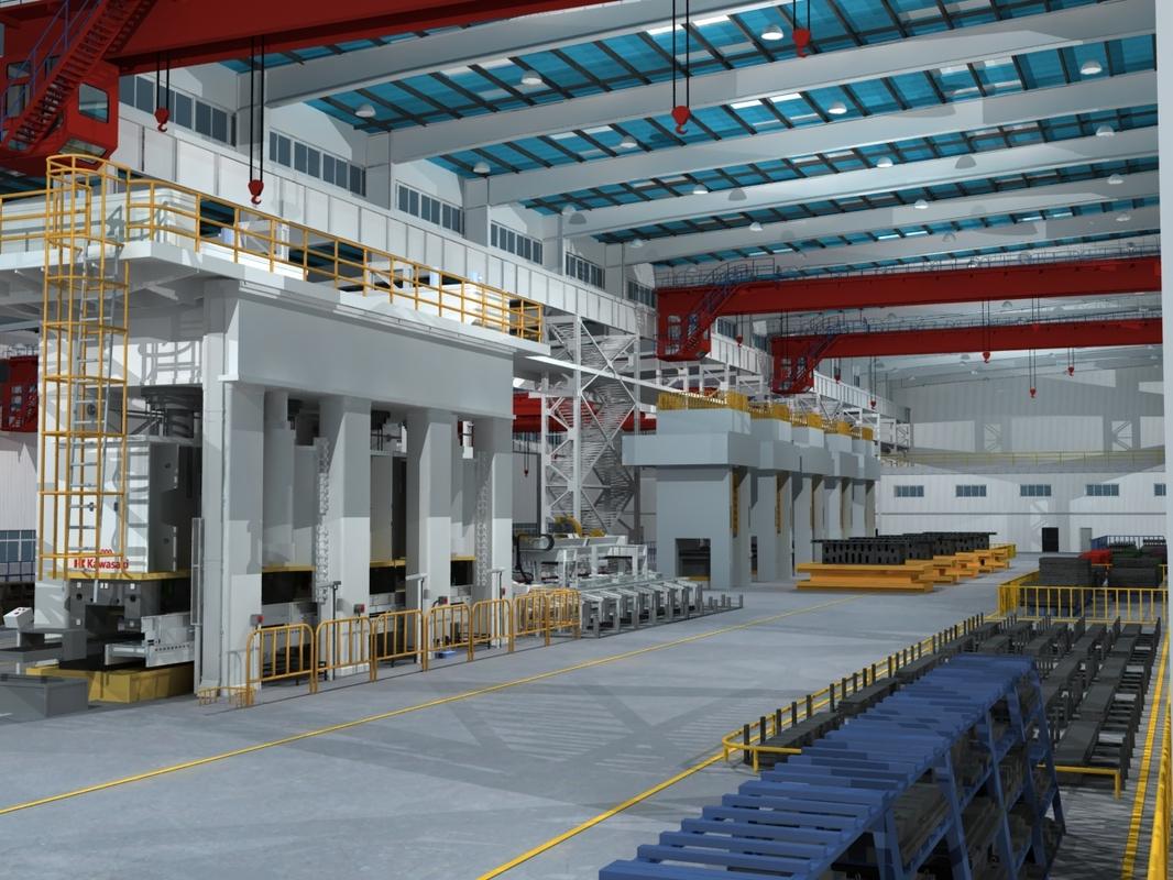 factory interior scene equipment model