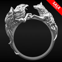 3D gryphon wolf ring