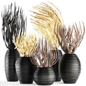 3D decorative vase branches model