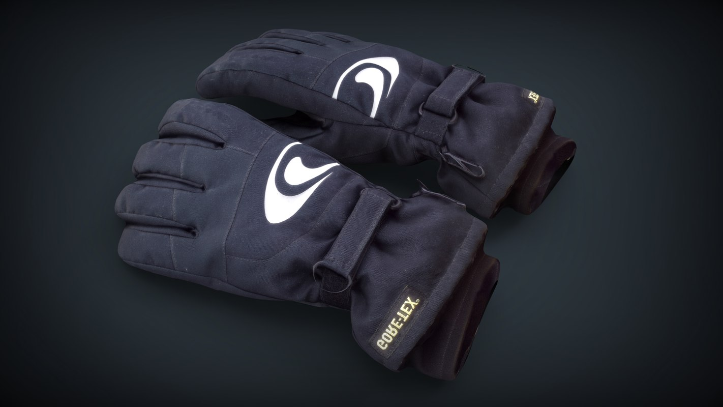 3D realistic ski gloves model