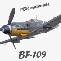 3D model pbr bf-109 german fighter aircraft