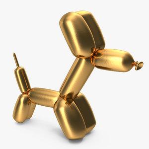 jeff koons golden balloon 3D