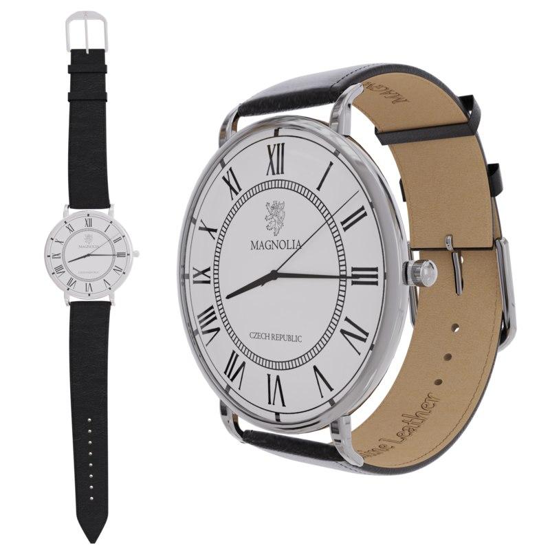 elegant wristwatch silver variant 3D model