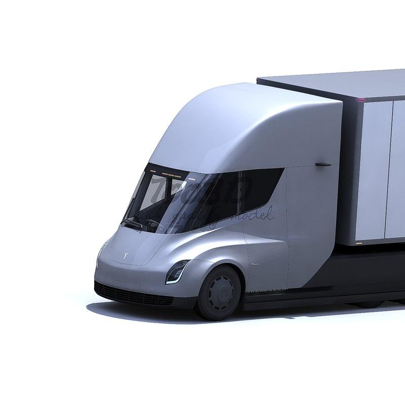 tesla semi trailer 3D model