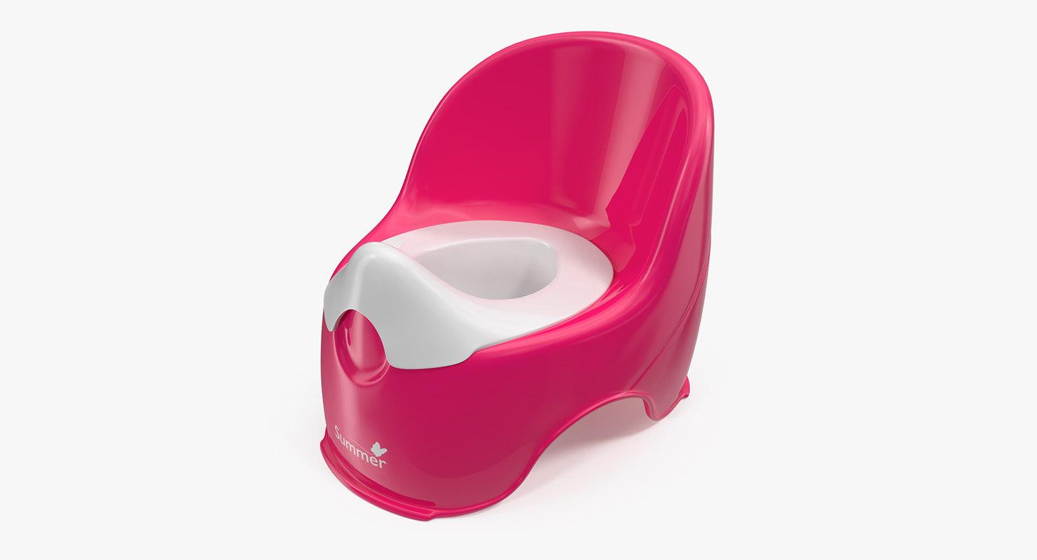 red plastic kids toilet 3D model