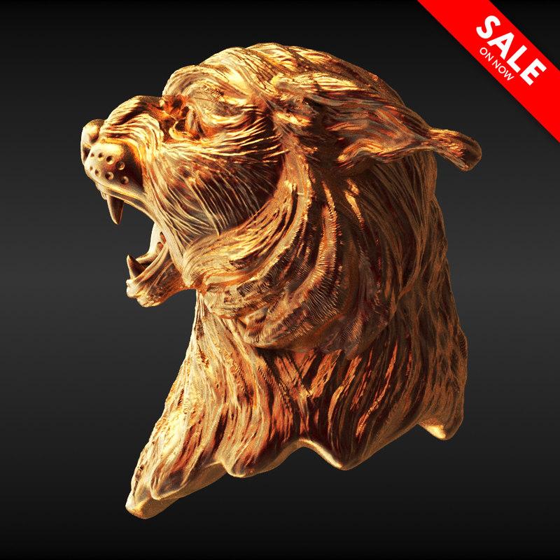 3D lynx bust model