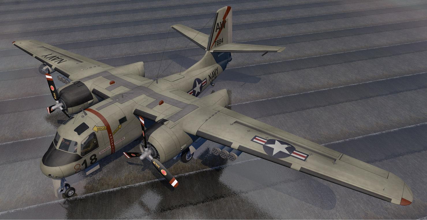 plane grumman s2f-1 tracker 3D model
