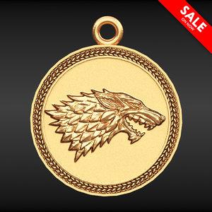 3D wolf pendant model