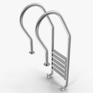 3D steel swimming pool ladder model