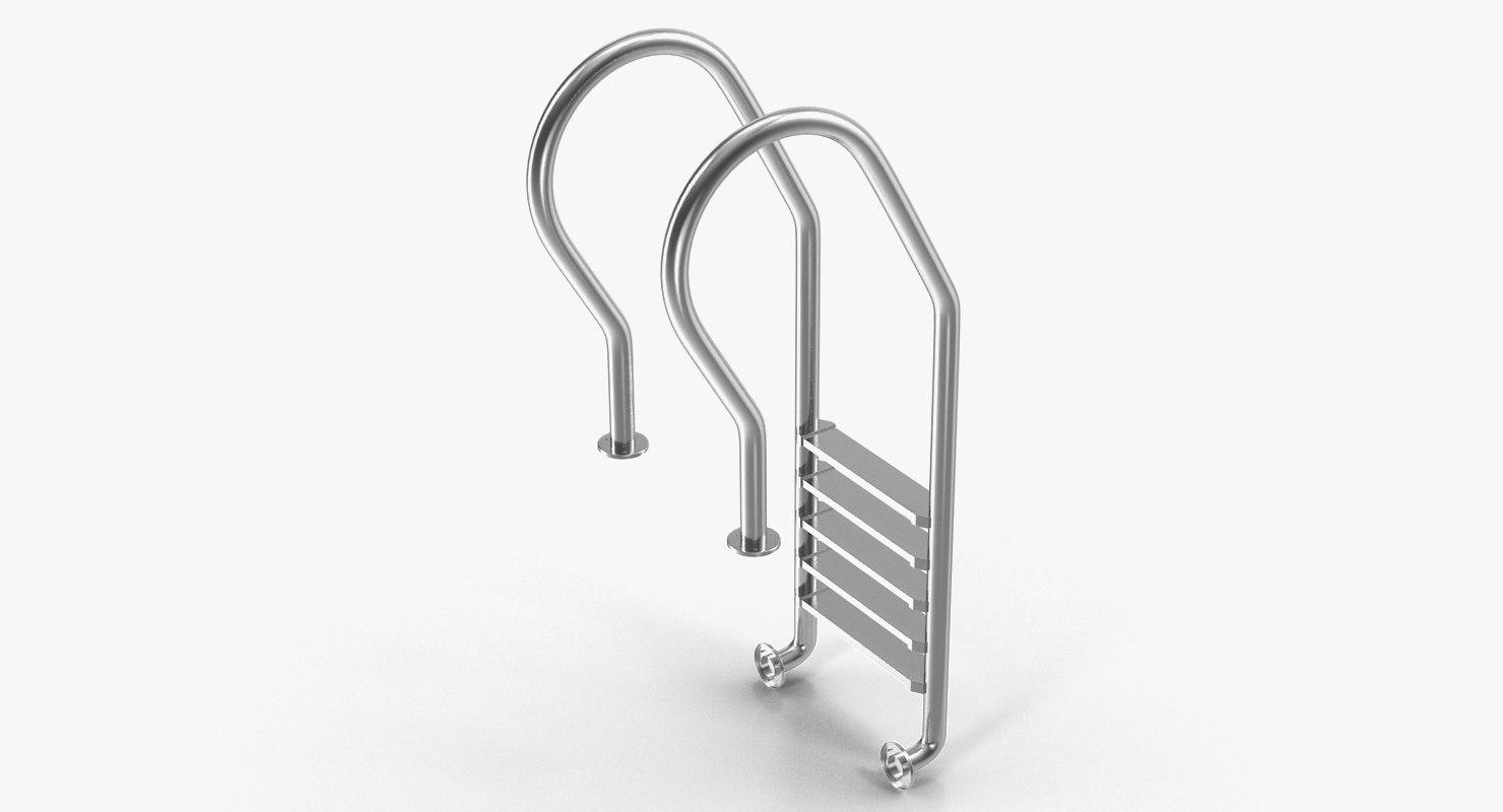 3D steel swimming pool ladder model