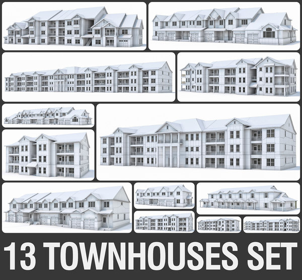 3D model townhouses exterior build