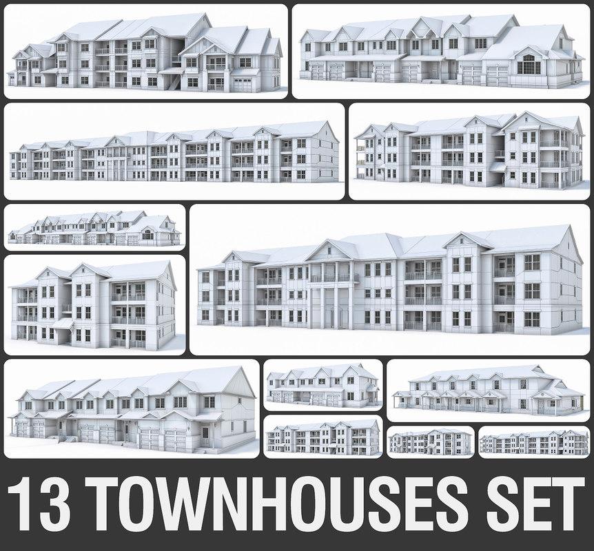 3D model townhouses exterior build