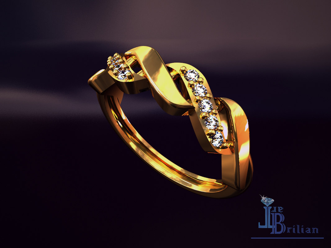 3D gold wave ring