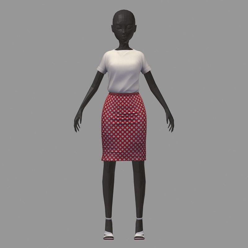 3D stylish avatar base office