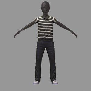 avatar casual set black 3D model