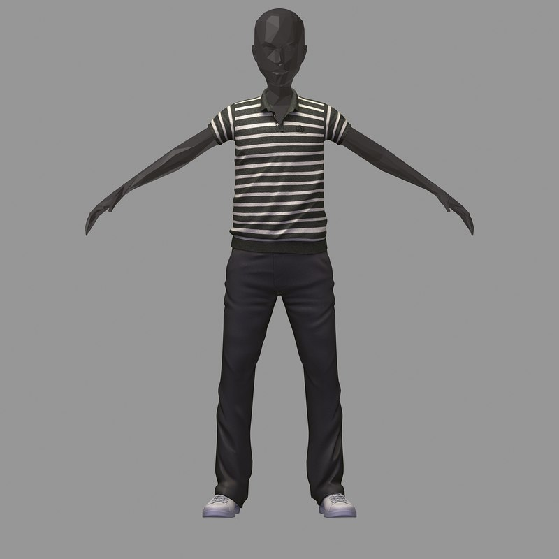 avatar casual set black 3D model