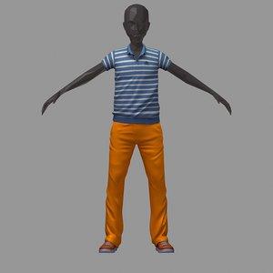 3D model avatar casual set blue