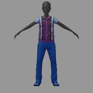 avatar casual set blue 3D model