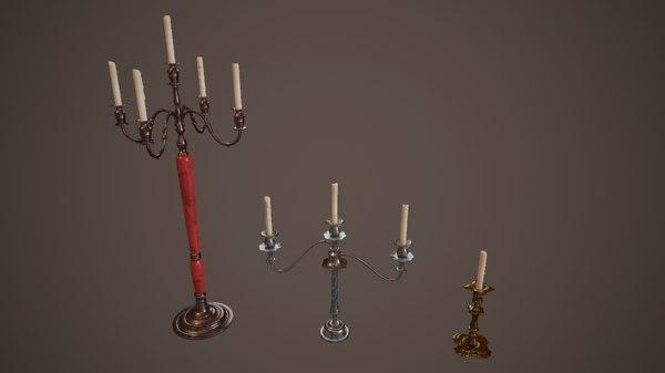3D candlestands candlestick pbr model