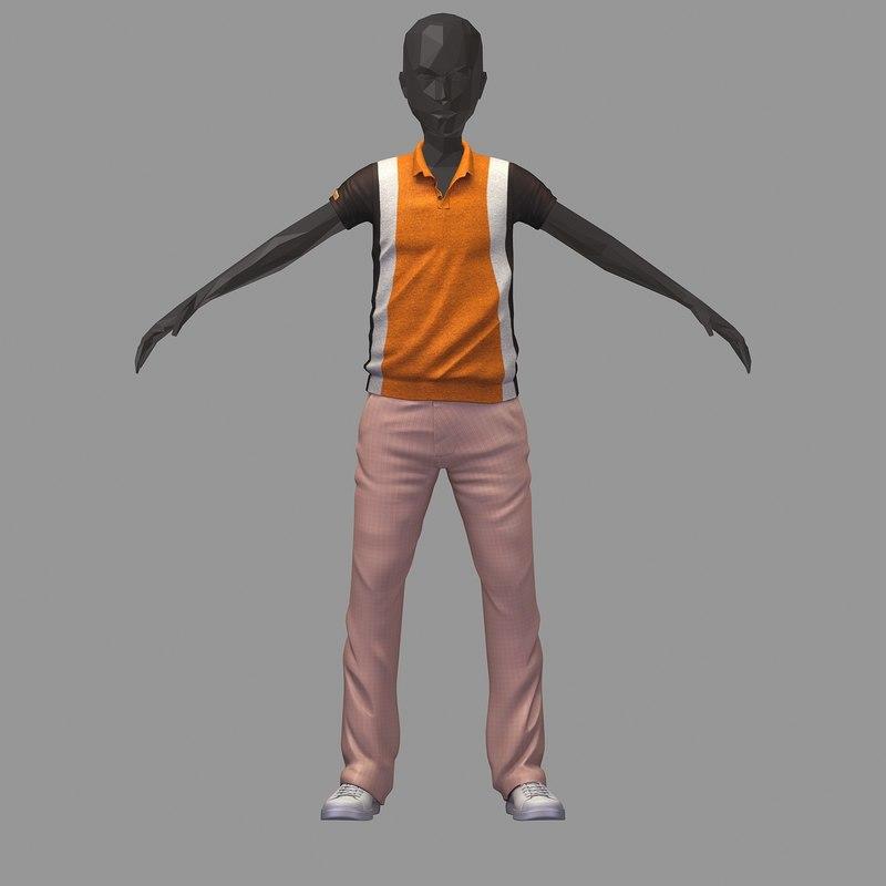 avatar casual set brown 3D model