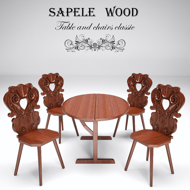 3D model set chairs table