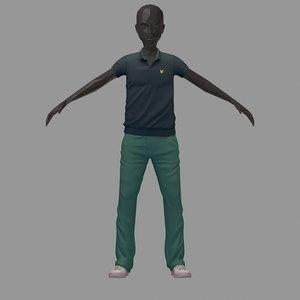 3D avatar casual set grey model