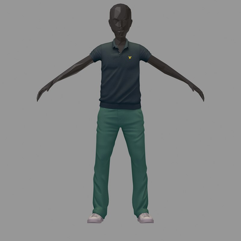 3D avatar casual set grey model
